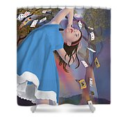 Flying Cards Dissolve Alice's Dream Shower Curtain