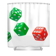 Flying Craps Dice  Shower Curtain