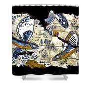 Flying Fish No. 3 Shower Curtain