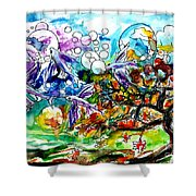Flying Fish Tree And Bubbles Shower Curtain