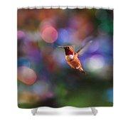 Flying Hummingbird And Bokeh Shower Curtain