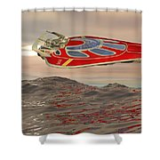 Flying Just Above The Waves Shower Curtain