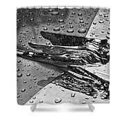 Flying Lady Hood Ornament In B And W Shower Curtain