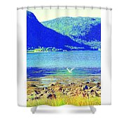 Seagull Flying Low, Mountains Standing Tall  Shower Curtain
