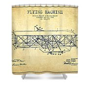 Flying Machine Patent Drawing From 1906 - Vintage Shower Curtain