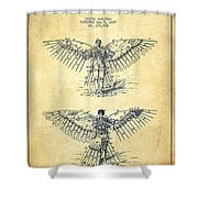 Flying Machine Patent Drawing-vintage Shower Curtain