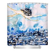 Flying Over Troubled Waters Shower Curtain