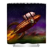 Flying Pig - Rocket - To The Moon Or Bust Shower Curtain