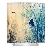 Flying Retro Shower Curtain