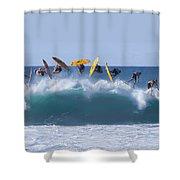Flynnstone Flip Shower Curtain by Sean Davey
