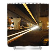 Flyover In The Night Shower Curtain