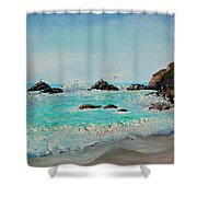 Foamy Ocean Waves And Sandy Shore Shower Curtain