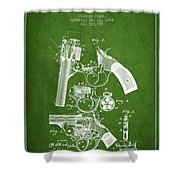 Foehl Revolver Patent Drawing From 1894 - Green Shower Curtain