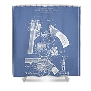 Foehl Revolver Patent Drawing From 1894 - Light Blue Shower Curtain