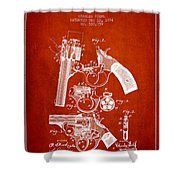 Foehl Revolver Patent Drawing From 1894 - Red Shower Curtain