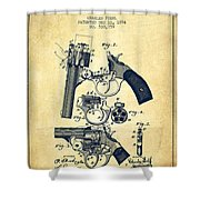 Foehl Revolver Patent Drawing From 1894 - Vintage Shower Curtain