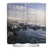 Fog And Rocky Shoreline In Winter With Shower Curtain