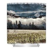 Fog Beyond The Tilled Field  Shower Curtain