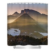 Fog Covered Mountains At Sunset Shower Curtain