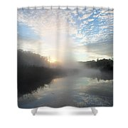 Fog Covered River Shower Curtain