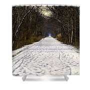 Fog On The Winter Macomb Orchard Trail Shower Curtain