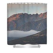Fog Over Mountain At Dawn, Aorakimount Shower Curtain