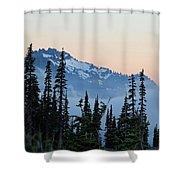 Mt. Rainier's Foggy Sunset Shower Curtain