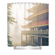 Foggy At The Reading Pagoda Shower Curtain