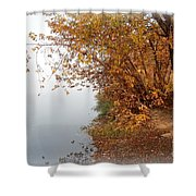 Foggy Autumn Riverbank Shower Curtain