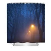 Foggy Avenue Of Trees With Path At Night No People Shower Curtain