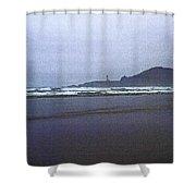 Foggy Beach And Lighthouse Shower Curtain
