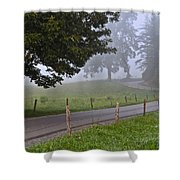 Foggy Country Lane Shower Curtain