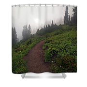 Foggy Crest Trail Shower Curtain by Mike  Dawson