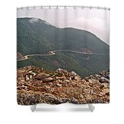 Foggy Day Road Through Cape Breton Highlands Np-ns Shower Curtain