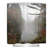 Foggy Fall River Shower Curtain