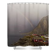 Foggy Hamnoy Rorbu Village Shower Curtain