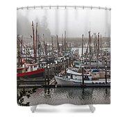 Foggy Ilwaco Port Shower Curtain by Robert Bales