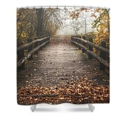 Foggy Lake Park Footbridge Shower Curtain by Scott Norris