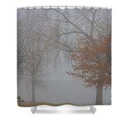 Foggy Lake View Shower Curtain