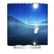 Foggy Lake With Sun Shower Curtain