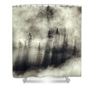 Foggy Landscape Stephens Passage Shower Curtain by Ron Sanford