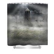 Foggy Landscape With Dark Tower Shower Curtain