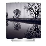Foggy Morn Bw Shower Curtain by Steve Gadomski