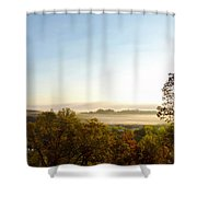 Foggy Morning At Spirit Lake Sanctuary In Lower Lake Ca Shower Curtain