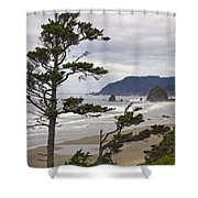 Foggy Morning At Tolovana Beach Oregon 2 Shower Curtain