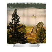 Foggy Morning Drive Shower Curtain