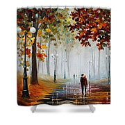 Foggy Morning - Palette Knife Contemporary Landscape Oil Painting On Canvas By Leonid Afremov - Size Shower Curtain