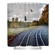 Foggy Nature Along The Train Tracks Shower Curtain