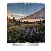 Foggy Rainier Sunset Shower Curtain