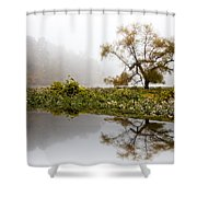 Foggy Reflections Landscape Shower Curtain